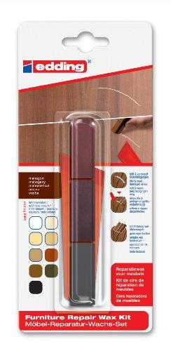 edding 8901 Möbel-Reparatur-Wachs-Set - 3 mischbare Farben - mahagoni - Zum Entfernen von Kratzern und Schrammen auf Möbeln und Holz
