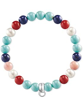 Thomas Sabo Damen-Charm-Armband 925 Sterlingsilber Perle X0214-946-7-L17.5