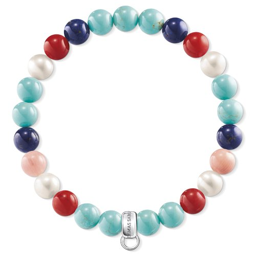 Und Charms Schmuck Perlen (Thomas Sabo Damen-Charm-Armband 925 Sterlingsilber Perle X0214-946-7-L17.5)