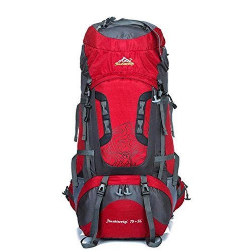 75L + 5L grande impermeabile di Camp Hike zaino da viaggio teengers alpinismo Climb Borse Pack per Uomini Donne , green Red
