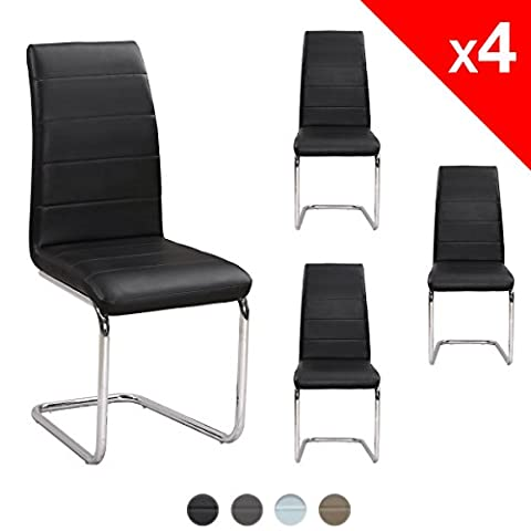 LUXUS Chaises Design Salle à Manger Lot 4, Salon, Simili Cuir et Chrome - KAYELLES(Noir)