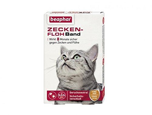 Zecken-Flohband Katze | Wirkt 8 Monate gegen Zecken & Flöhe | Mit SOS-Suchservice & Sicherheitsverschluss | Wasserfest | Farbe: Weiß | Länge: 35cm