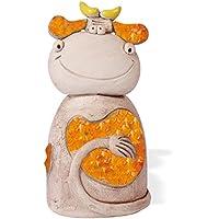 Preisvergleich für Spardose Kuh Erna aus Keramik, handgefertigt 17cm verschiedene Farben (orange)