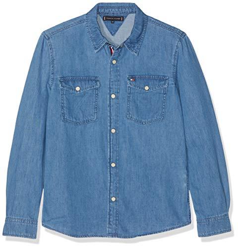 Tommy Hilfiger Jungen Shirt Boys FRBR Hemd Blau (Fresh Blue Rigid 911) 164 (Herstellergröße: 14) -