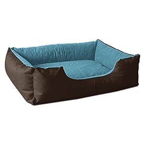 BedDog Hundebett LUPI, Hundesofa aus Cordura, Microfaser-Velours, waschbares Hundebett mit Rand, Hundekissen Vier-eckig, für drinnen, draußen, M, Mountain-Blue, braun-blau