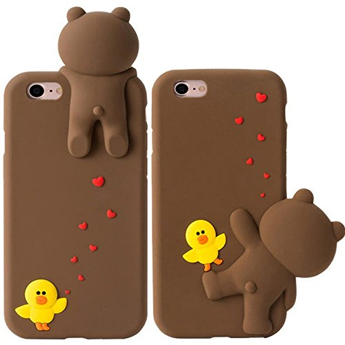 IPhone 7 Case, 3D three-dimensional cartoon silicone series lying lying bear/black cat/white cat, couple models phone case for iphone 7(4.7-inch) (Pink bears) Side lying bears