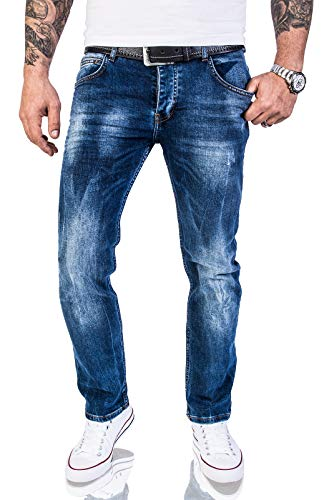 Rock Creek Herren Jeans Hose Regular Slim Stretch Jeans Herrenjeans Herrenhose Denim Stonewashed Basic Stretchhose Raw RC-2110A Dunkelblau W44 L32