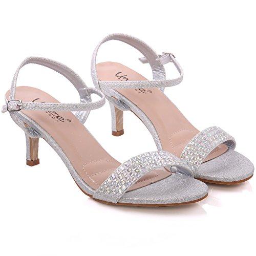 Unze Sandales de mariée embellies Femmes de Adona ' Argent