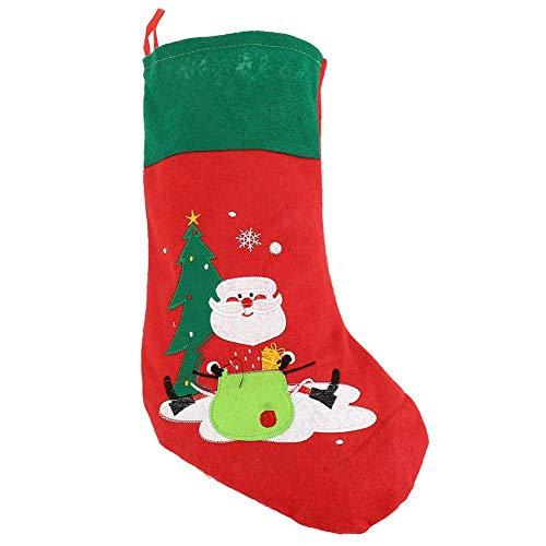 Xigeapg Weihnachts Strümpfe Socken Stickerei Roter Filz Weihnachten Weihnachtsmann Strümpfe 17 Zoll Weihnachts Geschenk Strumpf Weihnachts Dekoration Indoor Im Freien