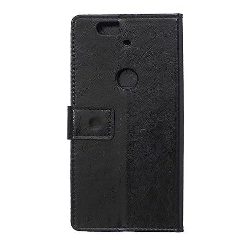Crazy Horse Texture Pattern Kunststoff PU Ledertasche horizontale Flip Stehhilfe Case Wallet Fall Deckung Solid Color Case für Huawei Nexus 6P ( Color : Pink , Size : Huawei Nexus 6P ) Black