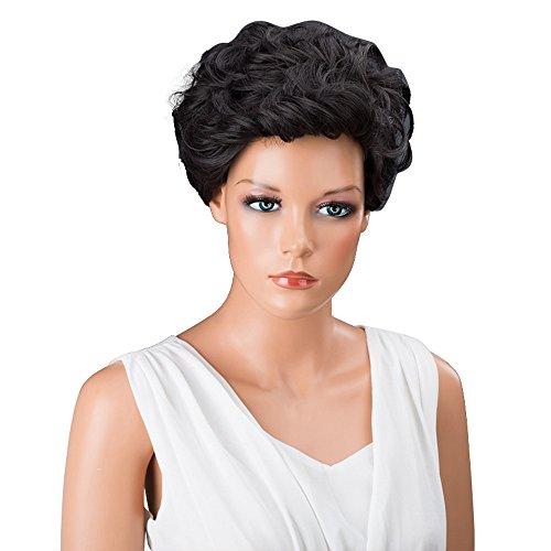 kashyk Damen Kurze lockige hitzebeständiges Perücke Kunsthaar für Schwarze Frauen weibliche Frauen Perücken für Halloween, Fasching, Karneval, Party, Kostüm - Elsa Kostüm Ändern