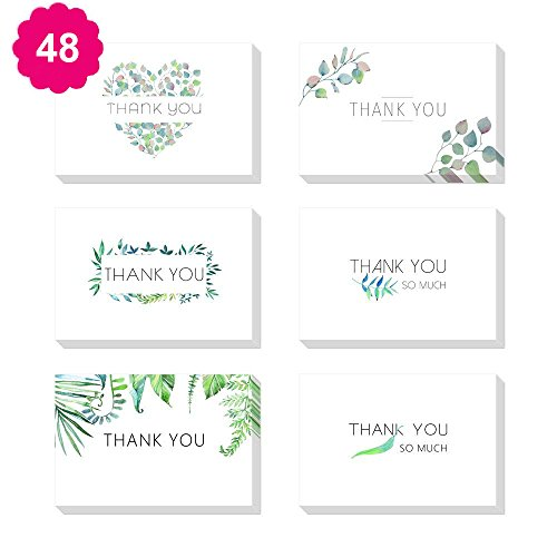 Aller Leaf-formel (Thank You card-48Packungen 6Designs blanko auf der Innenseite, handgeschriebene style-includes durch Karten und Umschläge, 10,2x 15,2cm 4x6 inches leaf)