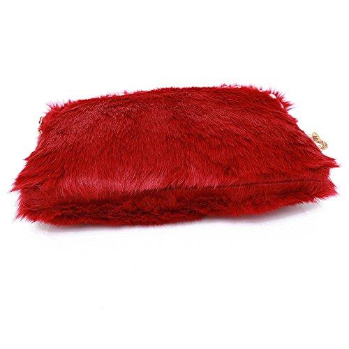 Longra Borsa a tracolla della borsa di modo delle donne perla peluche Rosso