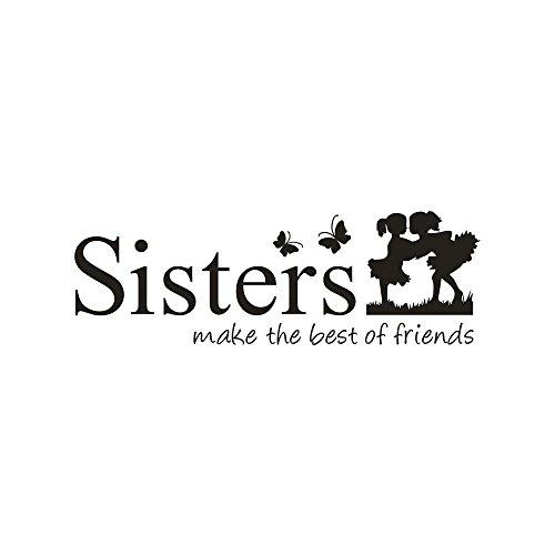 Somesun sorelle svegliate il meglio degli amici pvc wall sticker home decor diy art wall art aereo portafoto carta da parati adesiva