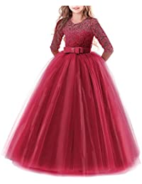 9b1d86874 Vestido de niña de flores para la boda Princesa Largo Gala Encaje De  Ceremonia Vestidos de Dama De Honor Fiesta Tul…