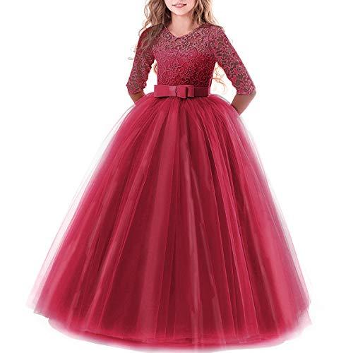 Burgund Illusion (IBTOM CASTLE Brautjungfer Kleider für Mädchen Blumenmädchen Hochzeitskleid Lange Ärmel Schmetterling Festzug Spitze Burgund 13-14 Jahre)