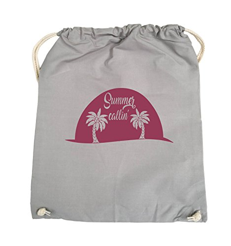 Comedy Bags - Summer callin - PALMEN - Turnbeutel - 37x46cm - Farbe: Schwarz / Pink Hellgrau / Fuchsia