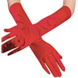 "Voberry Women's Long Satin Glove Bridal Prom Party Costume Evening Stretch Gloves Length:38cm/14.96"" Red"