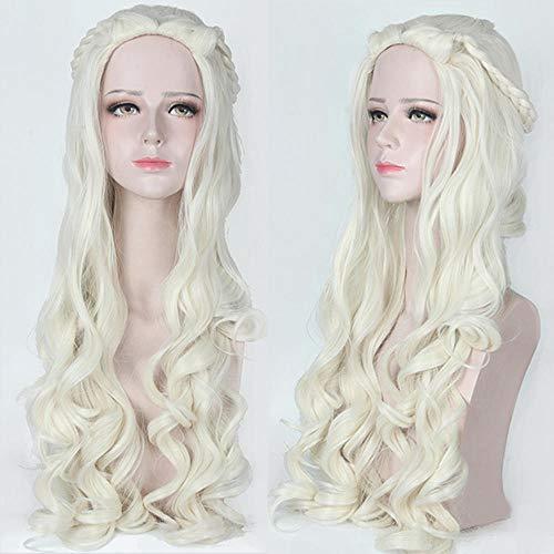 Alice im Wunderland Weiße Königin Alice Silbergrau Langes lockiges Haar Cosplay Lady Perücke , Beige (Aus Wunderland Königin Im Alice)