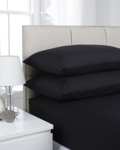 Hamilton McBride 68 Pick Polycotton Black Double Fitted Sheet (Pillowcases Sold Separately)