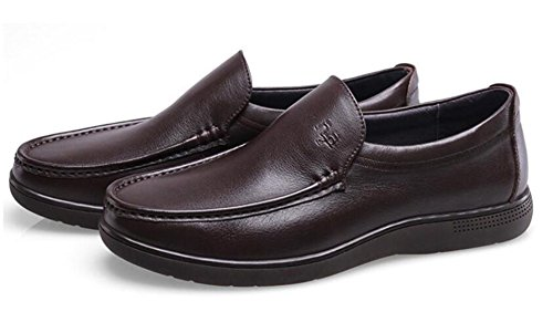 GRRONG Chaussures En Cuir Pour Hommes Loisirs Daffaires En Cuir Véritable Noir Brun brown