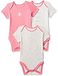 Mothercare Baby Girls' Regular Fit Cotton Bodysuit (Pack of 3)