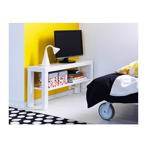 ikea tv bank lack 90x26x45cm beistelltisch in weiss mit unterfach smash. Black Bedroom Furniture Sets. Home Design Ideas