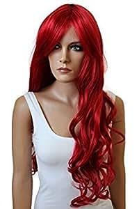 PRETTYSHOP Perücke Wig voluminös ca.80cm gewellt Hitzebeständiger Kunstfaser Wie Echthaar (intensive rot 3100 FS836)