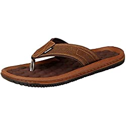 BATA Men's Brown Synthetic Slippers (10 UK)