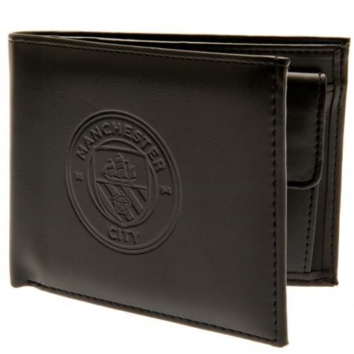 Manchester City Football Club Official Leather Wallet RFID Protection Team Crest Badge -