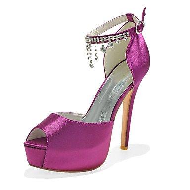 Wuyulunbi@ Scarpe donna raso Primavera Estate della pompa base scarpe matrimonio Peep toe strass per la festa di nozze & sera una rosa blu porpora argento Viola