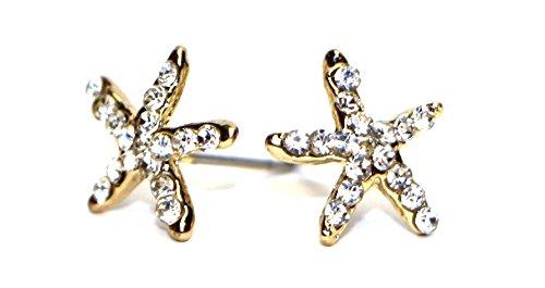 Bijoux en acier chirurgical Fashion Mini boucles d'oreilles clous étoile de mer pour filles Gold & White