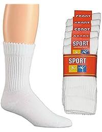 Wowerat Lot de 20 paires de chaussettes de sport 100 % coton à bord confortable lavables à 95 °C Blanc