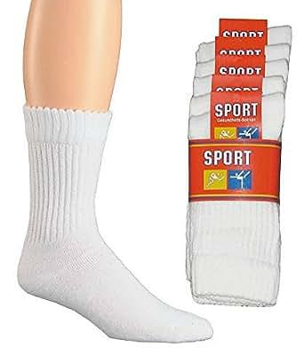 20 Paar Tennissocken Sportsocken mit Komfortbündchen 100% Baumwolle weiß kochfest Venenfreundlich 39/42,Weiß