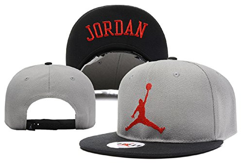 Cappello Air Jordan regolabile Hip Hop Sport Fans Hyst Unisex eresen Logo cappellino da Baseball (grigio, rosso)