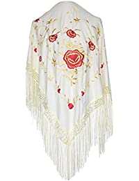 La Señorita Mantones bordados Flamenco Manton de Manila blanco oro rojo