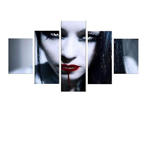 Fünf Zauber Nacht Gemälde, Tintenstrahl Rote Lippen Frau Dekorative Malerei, Abstrakte Avatar Ölgemälde (Ohne Rahmen),10x15cmx2+10x20cmx2+10x25cmx1