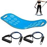 Balance Fit Board Con Resistance Tubes, Fitness Board-Exercise Balance Stability Trainer, Sicurezza Antiscivolo Per Terapia Fisica, Muscoli Tonici, Rafforzamento Core & Injury Rehab, Yoga Twist Board,Blue