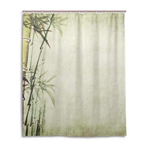 JSTEL Decor Duschvorhang Chinesische Malerei Bambus Muster Druck 100% Polyester Stoff Duschvorhang 152,4 x 182,9 cm für Zuhause Badezimmer Deko Duschvorhang -