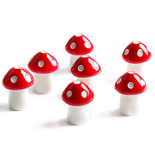 Danmu Art 10pcs Mini-Pilze Miniatur-Haus mit Pflanzen Micro Landschaft Dekoration für den Garten Pflanzen, Bonsai-Dekor