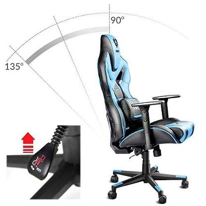 41 RqiAfxBL. SS416  - Diablo® X-Fighter Silla Gaming Silla de Oficina reposabrazos Ajustables soporta hasta 150 kg 3D Mecanismo de inclinación cojin Lumbar Cuero sintético Perforado