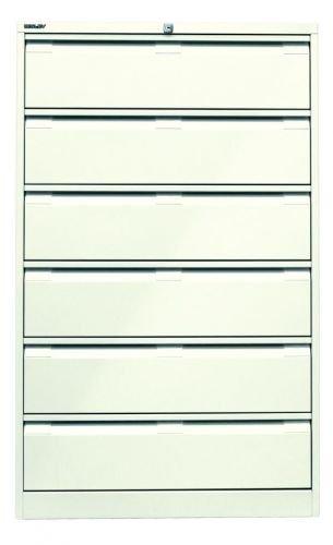Bisley Karteischrank, dreibahnig DIN A5, 6 Schubladen Stahl 625 Reinweiß 62.2 x 80 x 132.1 cm