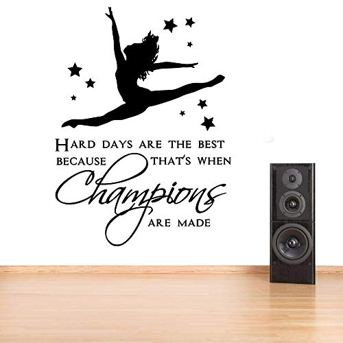 WWYJN Vinyl Wall Art Removable Gymnastic Girls Bedroom Quote Wall Decal Kids Room Girl Dancing with Stars Stickers Home Decor Black 57x78cm