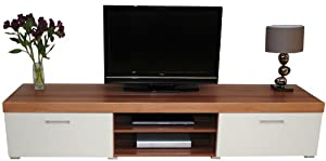 2 Metre White & Walnut Sydney 2 Door TV Cabinet Extra Large Unit
