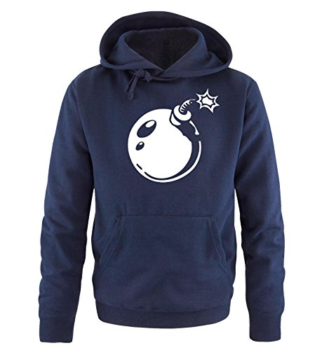 Comedy Shirts - BOMB - Uomo Hoodie cappuccio sweater - taglia S-XXL different colors blu navy / bianco