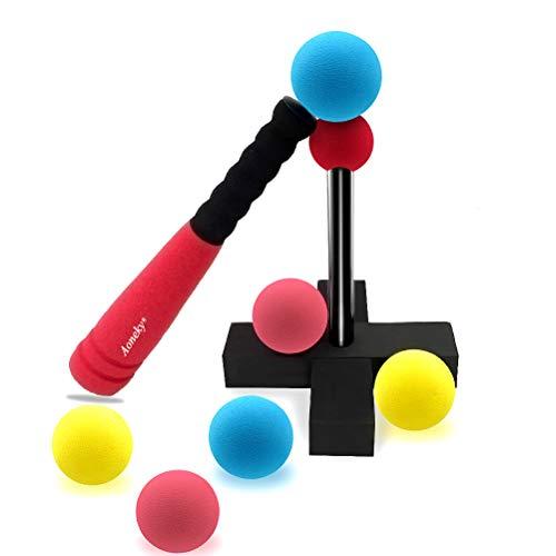 Aoneky Mini-Tball-Set für Kinder mit Ständer - Tragetasche im Lieferumfang enthalten - Baseball-T-Ball Spielzeug für Kinder im Alter von 1-2 Jahren, Rot