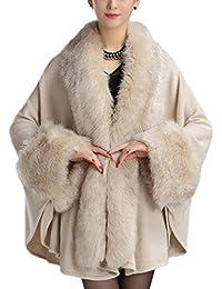 a9bc10cf3979 HANMAX Cape de Fourrure d hiver Femme Manteau de Laine Manches Longue Automne  Hiver Taille