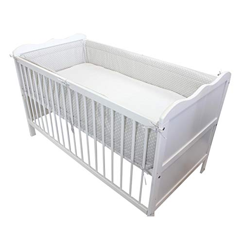 TupTam Baby Nestchen für Babybett Gemustert, Farbe: Herzchen Grau, Größe: 420x30cm (für Babybett 140x70) -