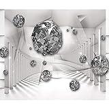 decomonkey Fototapete 3d Effekt Abstrakt 350x256 cm XL Design Tapete Fototapeten Vlies Tapeten Wandtapete Vliestapete moderne Wandbild Wand Schlafzimmer Wohnzimmer Kristalle Diamenten weiß grau