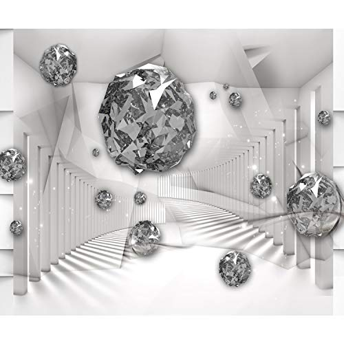 *decomonkey Fototapete 3d Effekt Abstrakt 350×256 cm XL Design Tapete Fototapeten Vlies Tapeten Wandtapete Vliestapete moderne Wandbild Wand Schlafzimmer Wohnzimmer Kristalle Diamenten weiß grau*